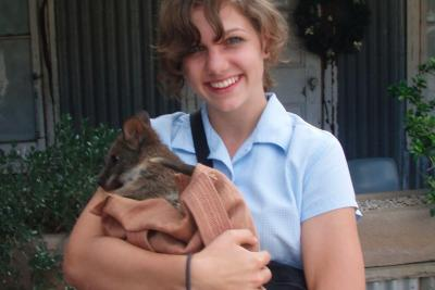Cuddling a Wallaby at Featherdale Wildlife Park